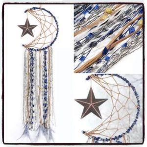 Moon and Star Crochet Dreamcatcher BOHO GOTH GIFT